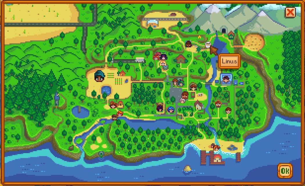 Stardew Valley — Карта местонахождения NPC / NPC Map Locations Mod