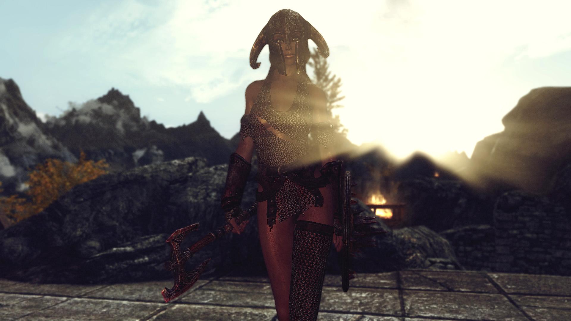 Обтягивающая женская одежда из драконей чишуи в скайриме