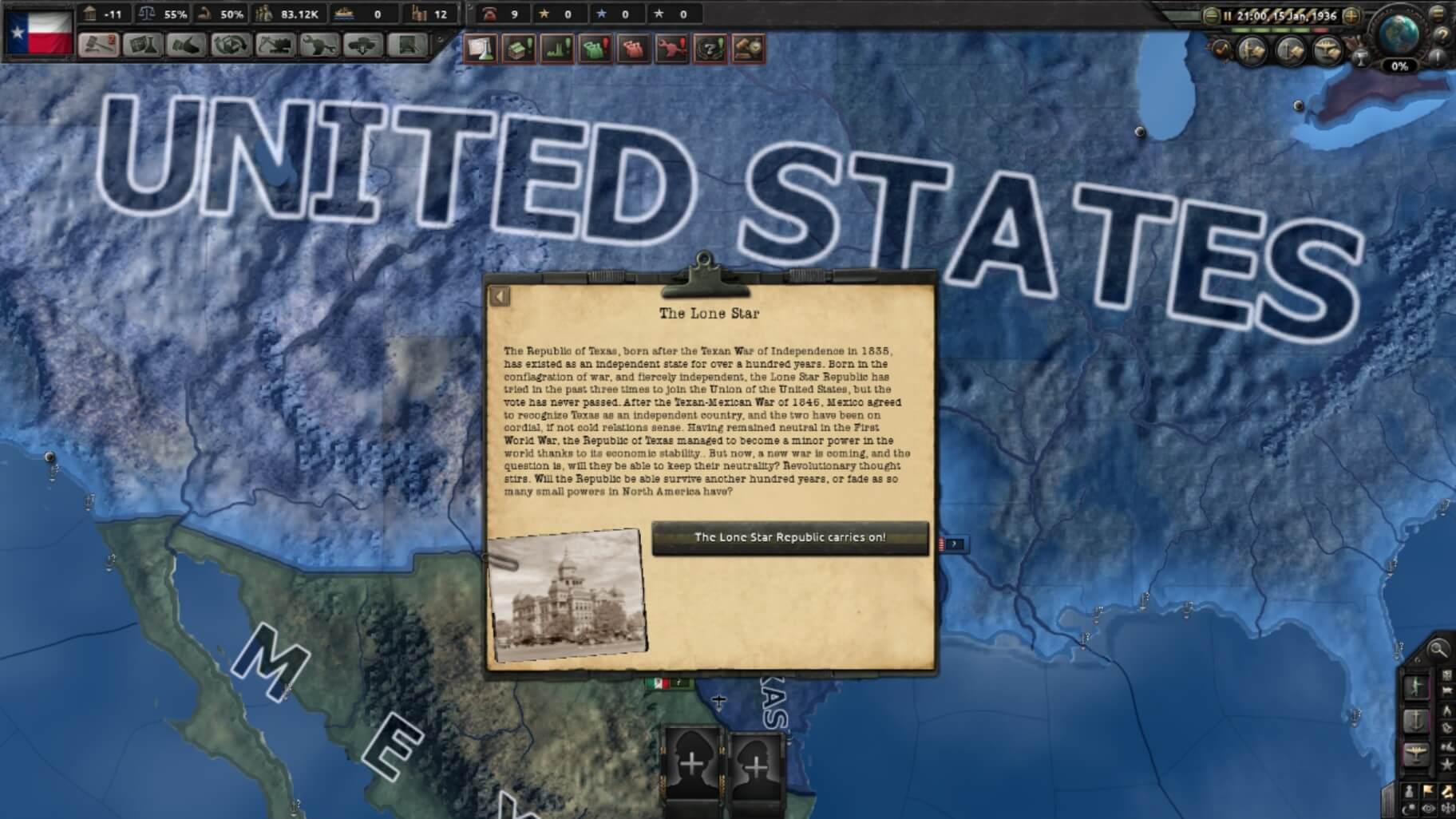 Hearts of Iron IV - Республика Техас