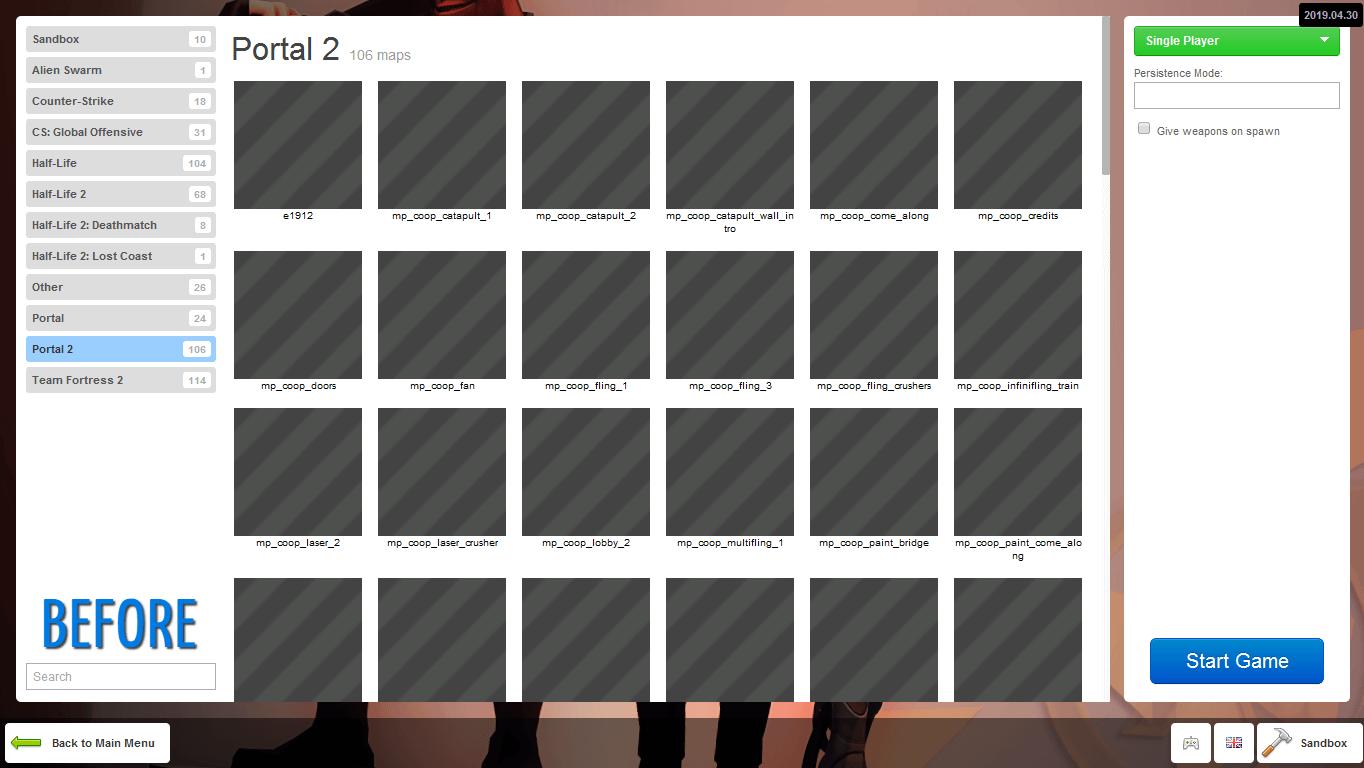 Garry's Mod - Иконки карт из Portal 2