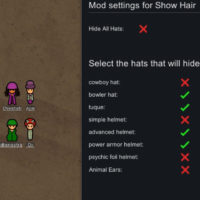 Rimworld - Show Hair With Hats or Hide All Hats